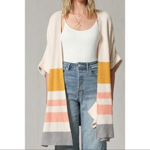 By Together Cream Jessie Color Block Knit Oen Front Kimono - S/M